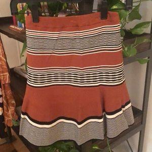 Sandro Orange Striped Skirt, Size 1